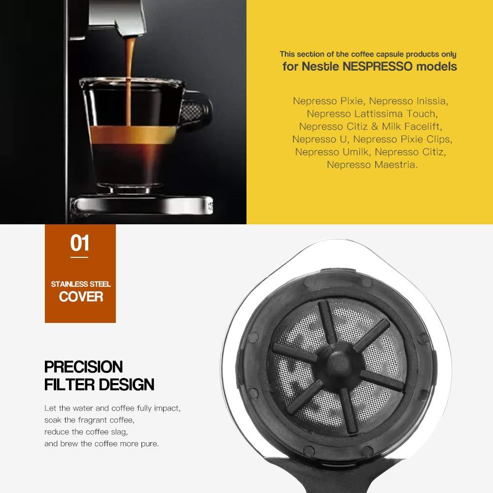filtro c/ápsula para Nespresso Essenza Mini DeLonghi EN85 pincel cuchara c/ápsula recargable reutilizable c/ápsula tamp/ón I Cafilas Nespresso C/ápsulas de acero inoxidable
