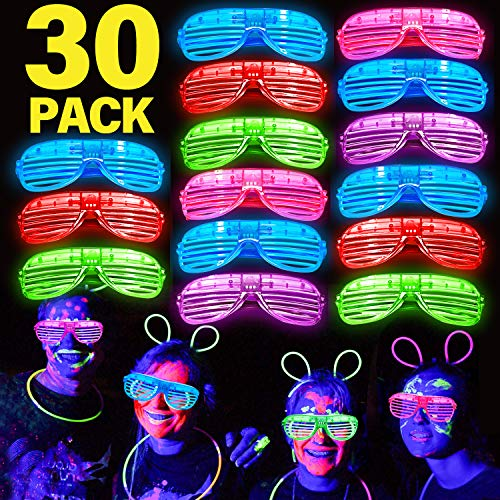 Halloween Party Adults (30 Pack LED Light Up Glasses Glow in The Dark Party Supplies Light Up Party LED Sunglasses Glow Neon Glasses Halloween Light Up Party Favors Halloween Party Accessories Kids Adults)