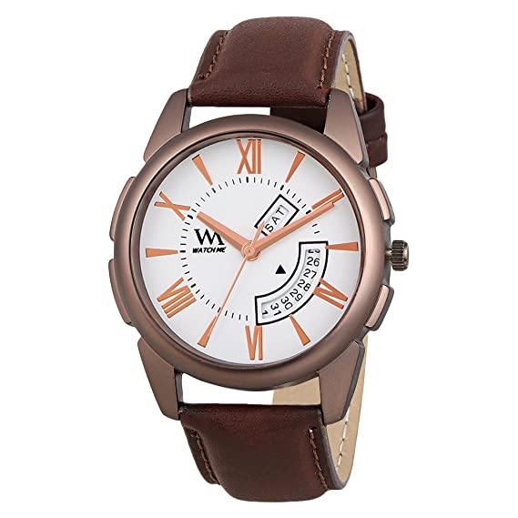 d002913f3bba5 Buy Watch Me Day Date Analogue White Dial Brown Leather Strap Men s Watch  Online at Low Prices in India - Amazon.in