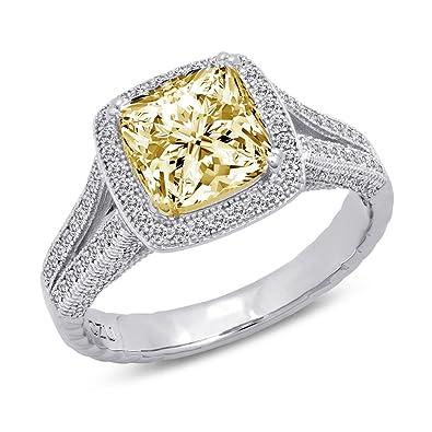 Amazon.com: DTLA de plata de ley corte cojín anillo con ...