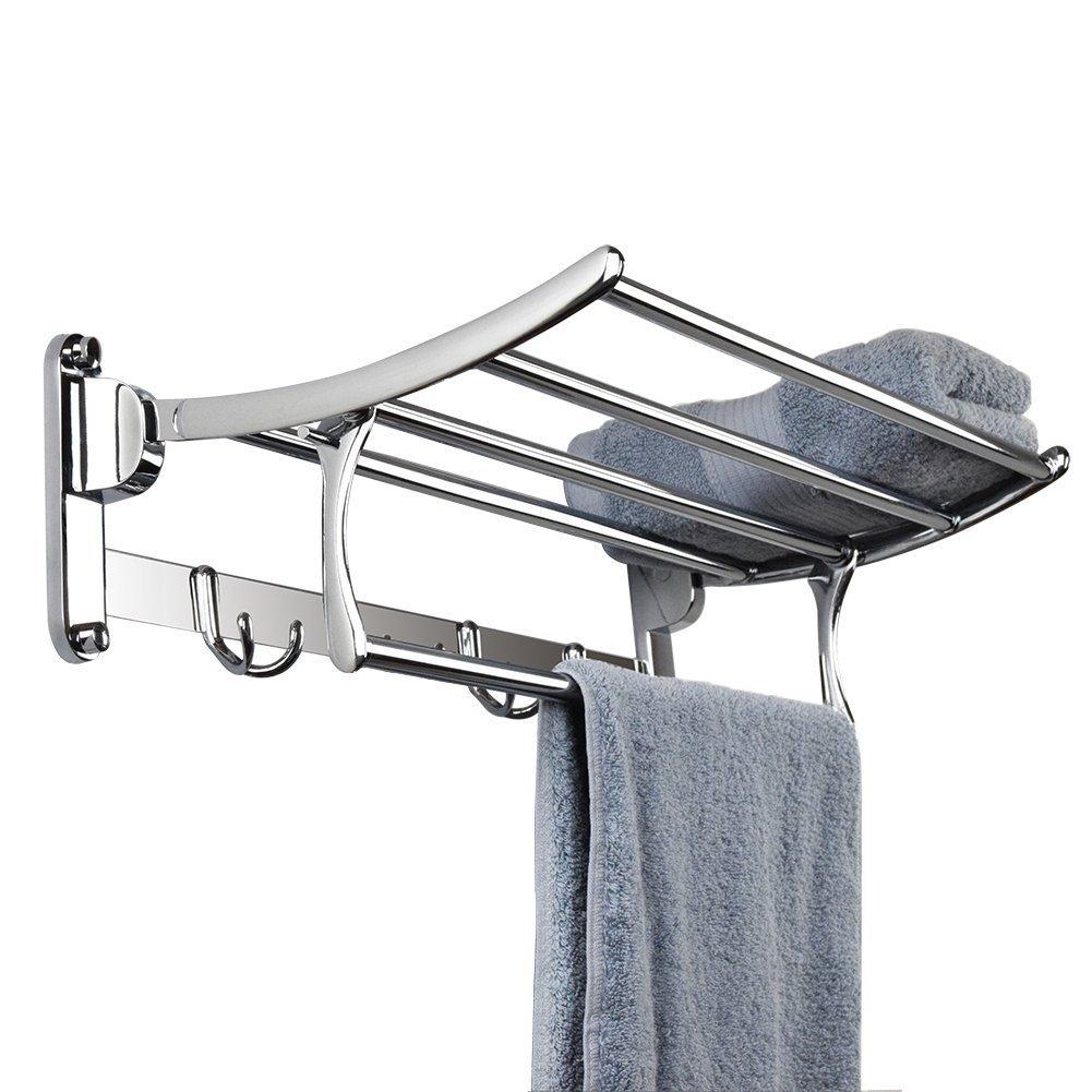 YOSIL Bathroom Towel Rack Wall Mounted Stainless Steel Towel Shelf Towel Holder Hotel Rail Shelf Storage Holder (Size:60 25 10 CM)