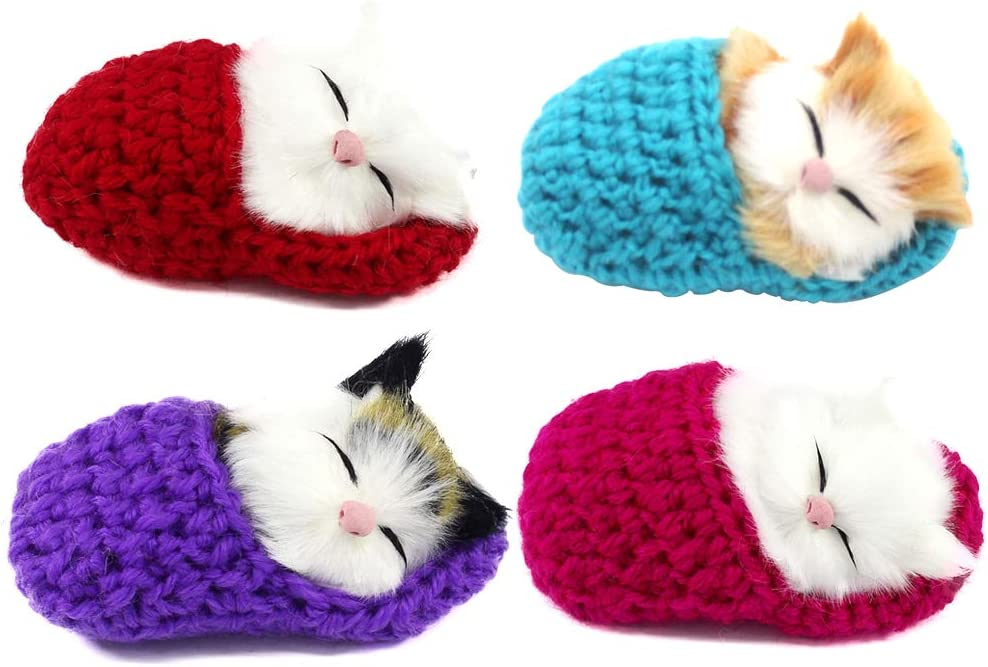 Coolayoung 4Pcs Sleeping Cat in Slipper Doll Toy, Mini Kitten in Shoe with Meows Sounds Deep Color Decor Hand Toy Gift for Kids Boys Girls