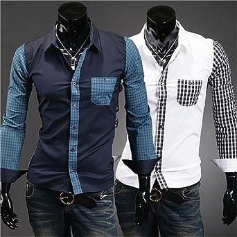 Camisa Slim a mango y cuello a cuadros en 2 colores y 4 ...
