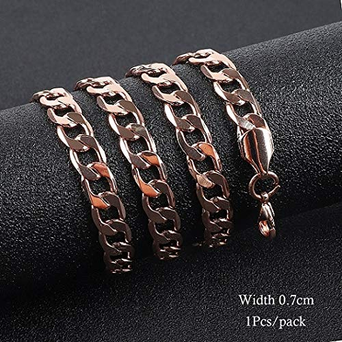 y Men Women 585 Rose Gold Color Necklace Curb/Weaving Classic Chains Jewelry for DIY Clothing Accessories 52cm - (Color: 02) ()
