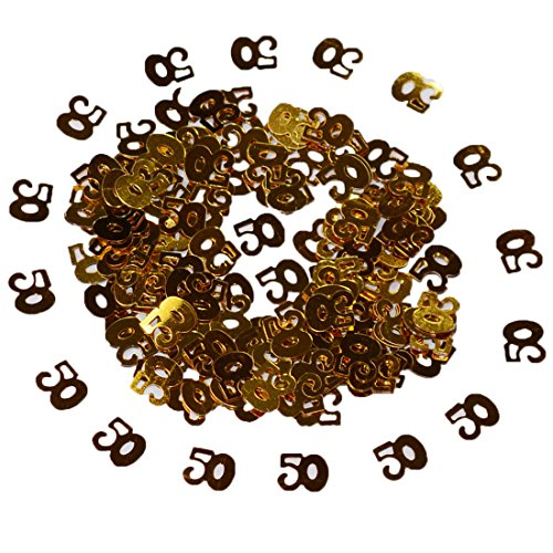 Mabingo Happy Birthday Confetti 50g 2000 Pieces Gold Number Ligits 50 Happy Birthday Words Letters Confetti for Birthday Party and Special Events Table Scatters Decorations (Gold 50) ()