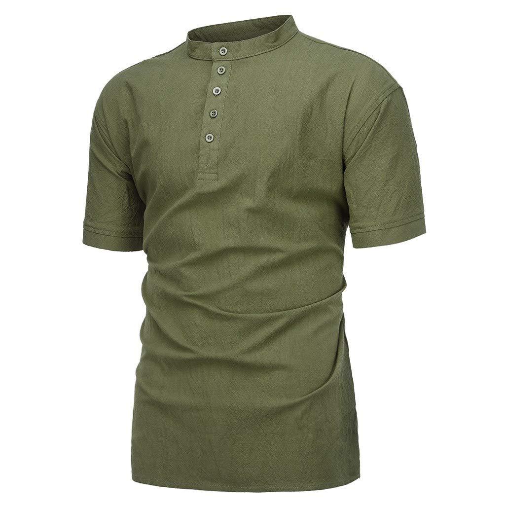 Mens Summer Fashion Casual Button Pure Cotton Hemp Short Sleeve Comfortable Blouse