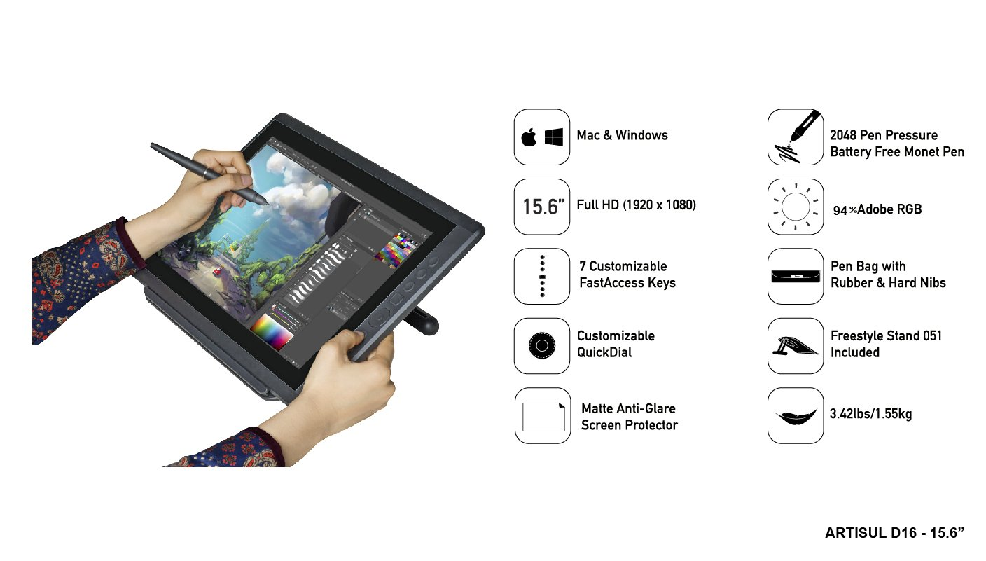 Artisul D16 - 15.6'' LCD Graphics Tablet with Display + Freestyle Stand Bundle … (D16 - 15.6'') by Artisul (Image #3)