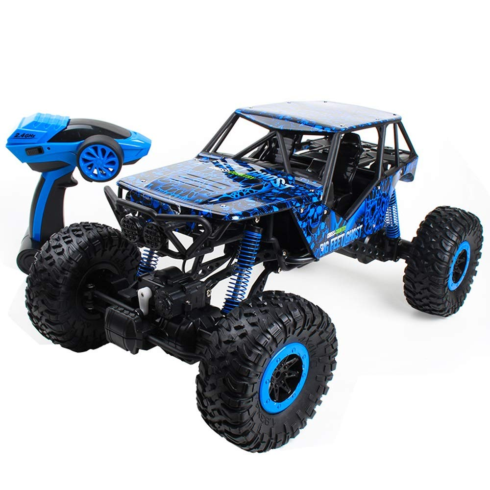 Pinjeer 1:10四輪駆動リモートコントロールオフロード車高速クライミングビッグカート充電リモートコントロール車の男の子子供のおもちゃ車のギフト子供のための3+ (Color : Blue, サイズ : 1-Battery) B07R339JGQ Blue 1-Battery
