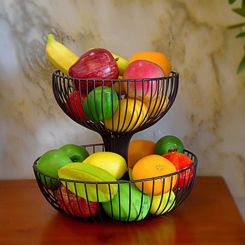 favourall Favall Corbeille /à Fruits en m/étal Double Couche en Fer forg/é Noir A