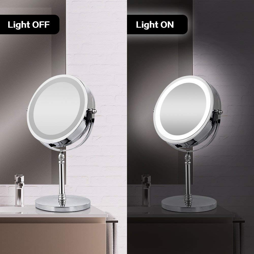 BRIGHTINWD Magnifying Mirror with Lights, Lighted Makeup Mirror 10X Magnification, Vanity Mirror with Lights, Double Sided 360 Rotation Polished Chrome Finish
