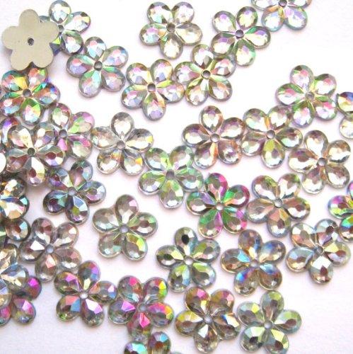 - Nakpunar 100 pcs Crystal Clear Iridescent 5 Petal Sew On Rhinestone - 12 mm (1/2