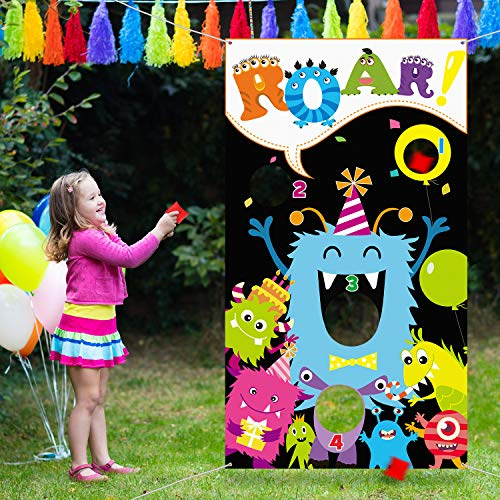 Monster Toss Game with 3 Bean Bags, Fun Indoor and Outdoor Bean Bag Toss Game for Kids and Adults, Great Monster Theme Party Decorations and Supplies