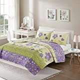 Comfort Spaces - Happy Flower Mini Quilt Set - 3 Piece - Lilac - Adorable Soft Microfiber Printed In Vibrant Multi-Color Plaid with Floral and Butterflies Design - Full/Queen Size