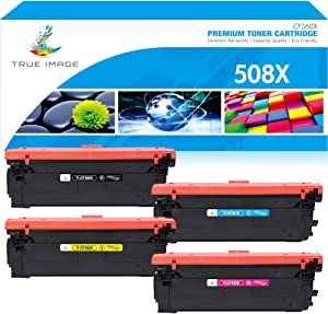 True Image Compatible Toner Cartridge Replacement for HP 508A 508X CF360X CF361X CF362X CF363X Color Laserjet Enterprise M553dn M577 M553X M553N M553 Printer Ink (Black Cyan Yellow Magenta, 4-Pack)