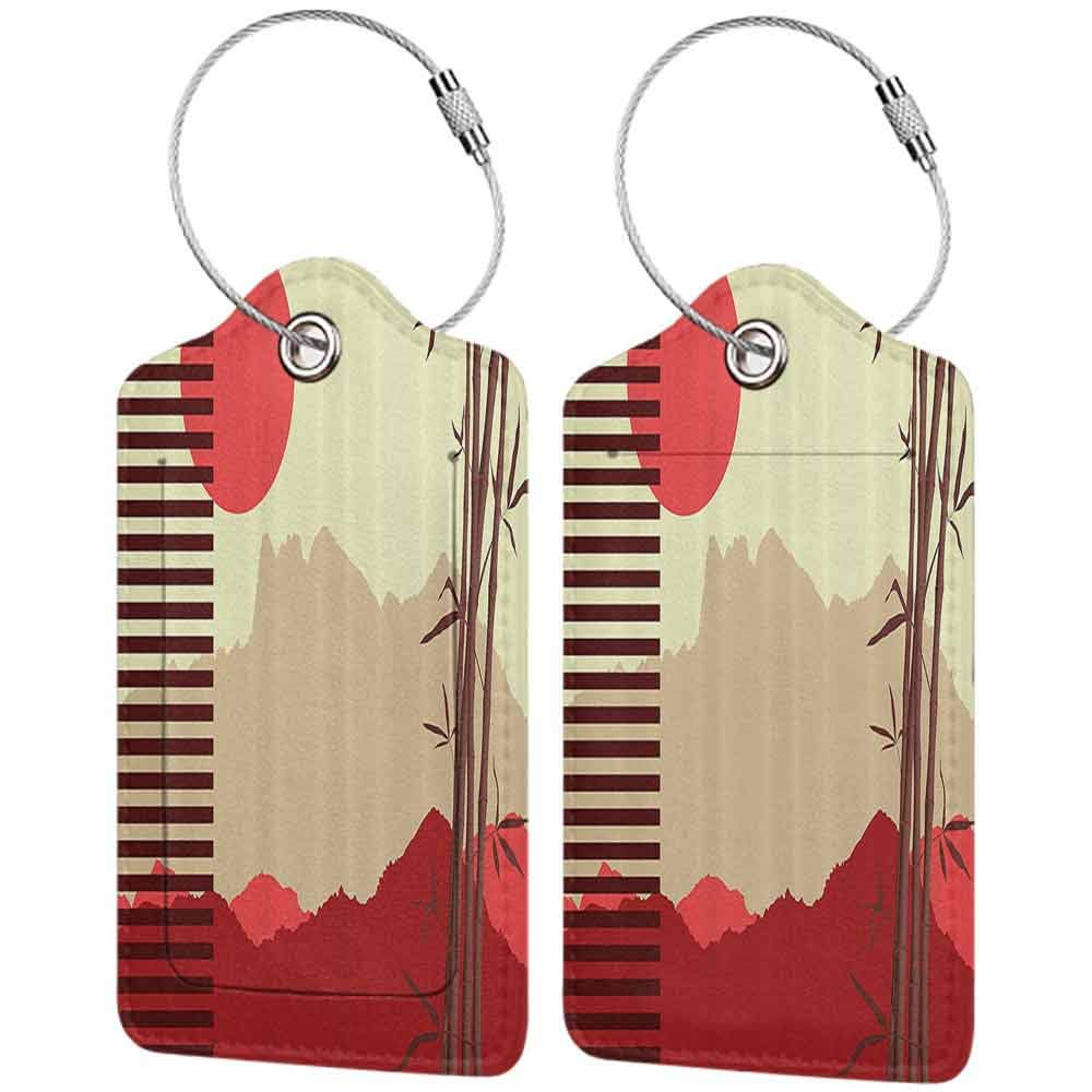 Multi-patterned luggage tag Bamboo House Decor Collection Modern Artwork with Japanese Bamboos and Mountain Silhouette Sun Boho Image Double-sided printing Red Yellow Brown W2.7 x L4.6