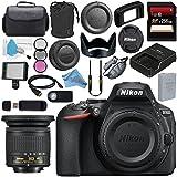 Nikon D5600 DSLR Camera (Body Only) (Black) 1575 AF-P DX 10-20mm VR Lens 2006772mm 3 Piece Filter Kit + 256GB SDXC Card + Card Reader + Professional 160 LED Video Light Studio Series Bundle