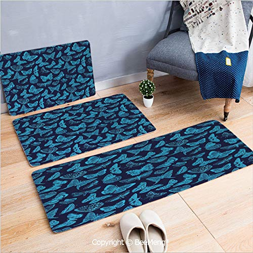 3 Piece Indoor Modern Anti-Skid Carpet Printed Block Bathroom Carpet,Indigo,Spring Time Sketchy Hand Drawn Butterflies Bugs Dragonfly Art Print,Light Blue and Dark Blue,20x31/20x59/28x55 inch