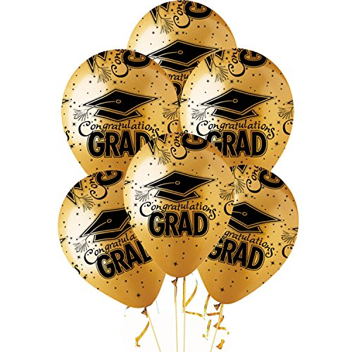 "Balloons Graduation 11 Inch Premium "" Made in USA"" Latex Gold with black Congrats Grad Caps Pkg/12"