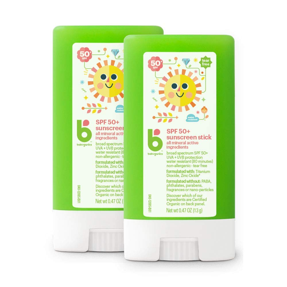 Babyganics Sunscreen Stick 50 SPF, .47oz, 2 Pack, Packaging May Vary by Babyganics