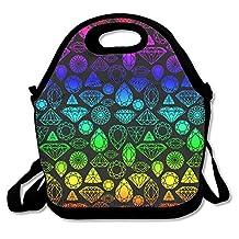 Rainbow Teal Diamonds Lunch Bag Tote Handbag Lunchbox For School Work Outdoor