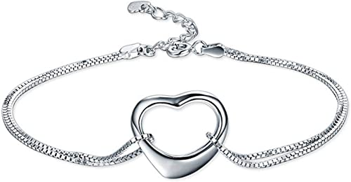 Women Ladies 925 Sterling Silver Pendant Necklaces Smooth Heart Pendant Silver Gnzoe