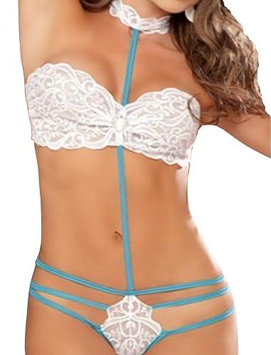 HO-Ersoka body-tanga de encaje con espalda abierta en un estilo fantasia, blanco/turquesa