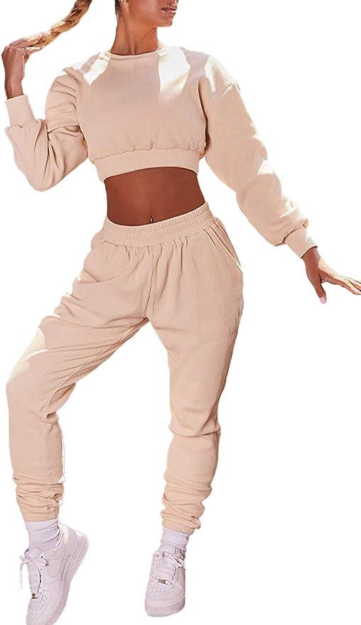 Tinta unita Due Pezzi Vestito Manica Lunga Girocollo Pullover Top e Pantaloni Lunghi Tute Tute