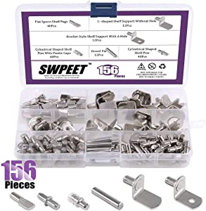 156Pcs 6 Styles Shelf Pins Kit, Top Quality Nickel Plated Shelf Bracket Pegs Cabinet Furniture Shelf Pins Support for Shelf Holes on Cabinets, Entertainment Centers