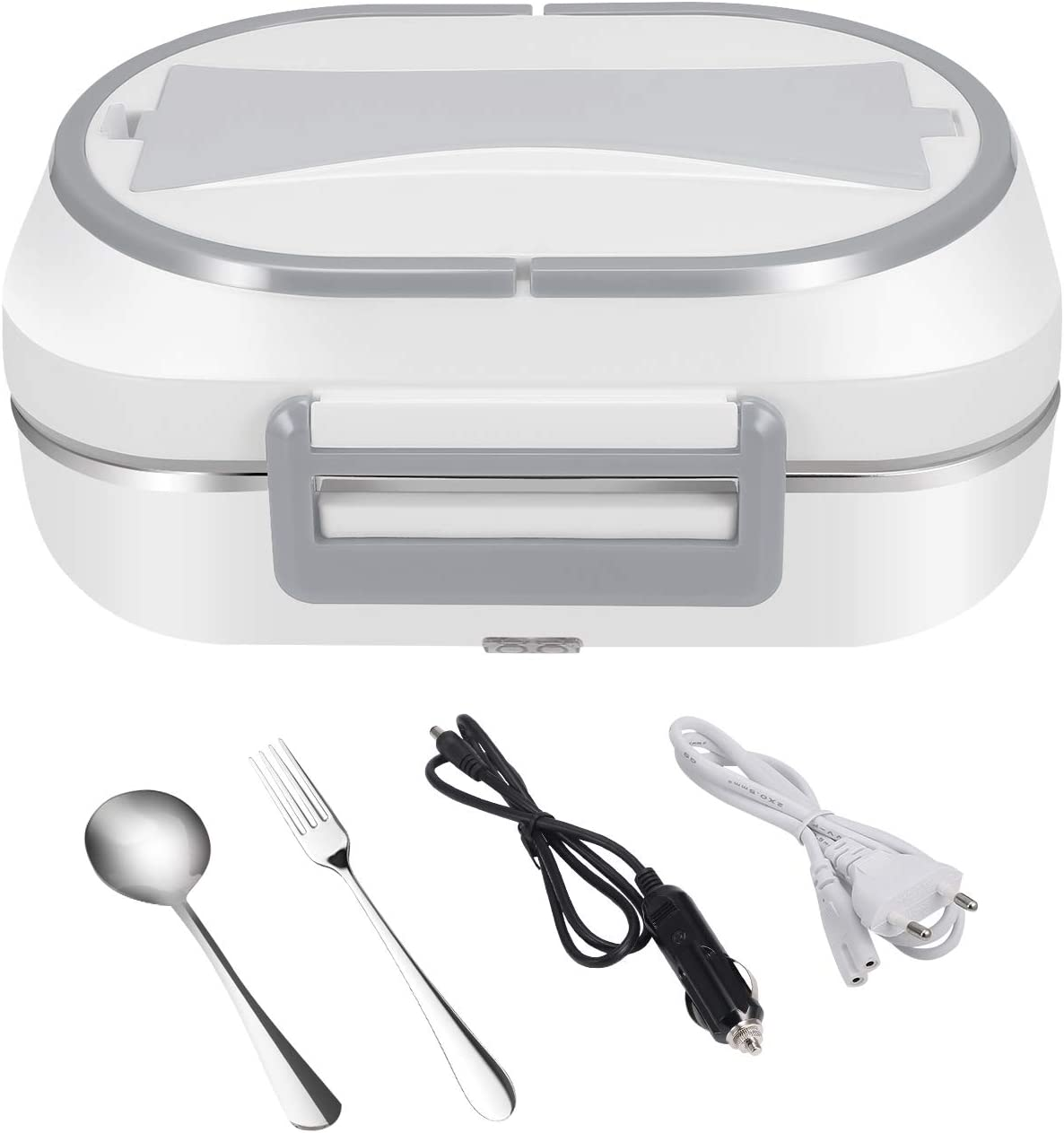 UUTO Electric Heating Lunch Box Food Heater Portable Food Warmer for Car Office Home with 304 Stainless Steel Container, 12V & 24V for Car/Truck & 110V for Home/Office