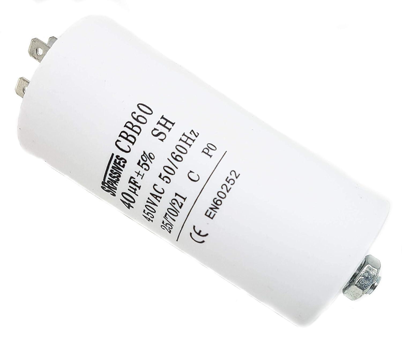 Condensateur universel SR Passif CBB60 Blanc 40 mF 450 V