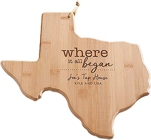 For New Family Home Housewarming Wedding Moving Fathers Day Gift Texas Cutting Board State Shaped Wood Bamboo Engraved home