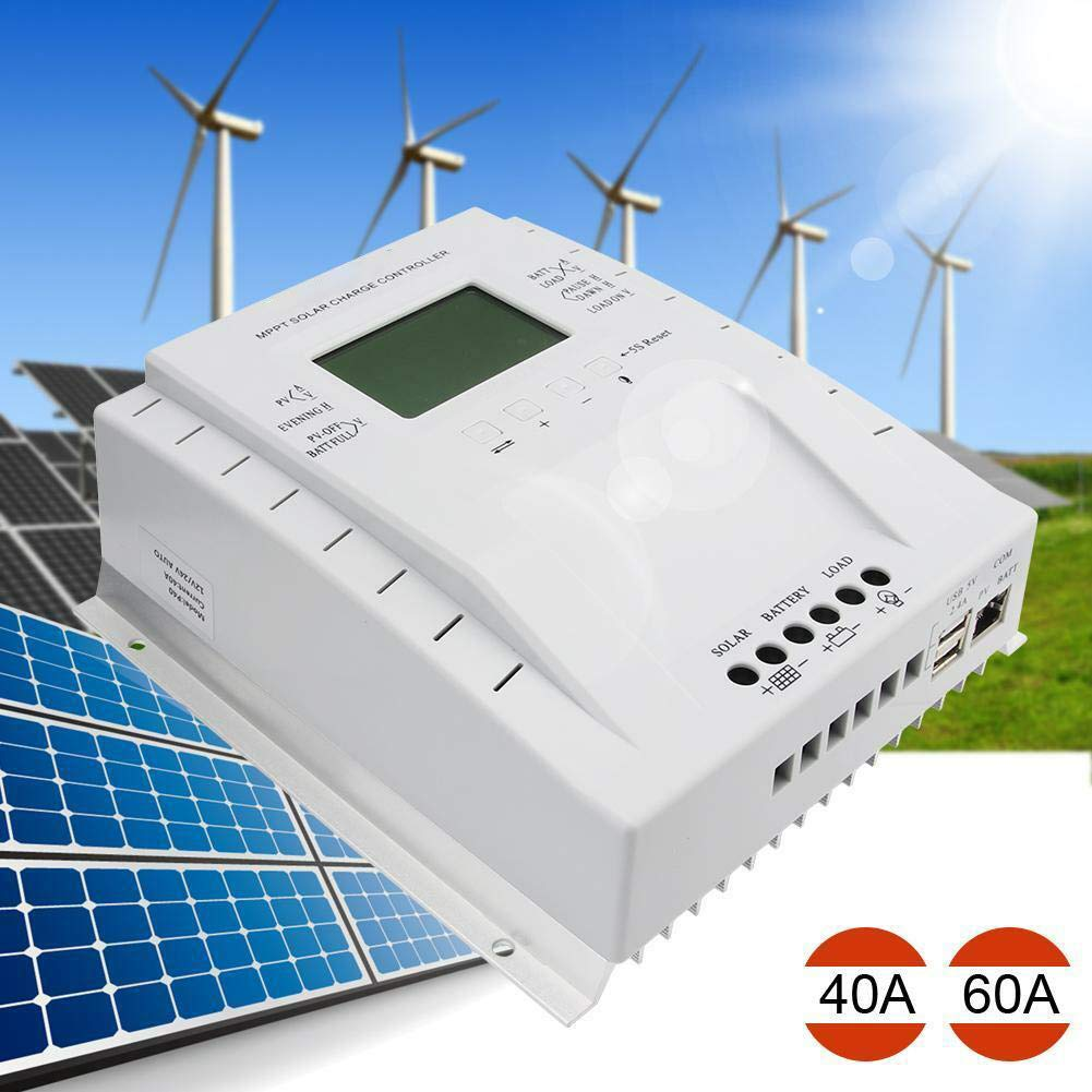 40A MPPT Solar Charge Controller 40 amp 12V/24V Auto,Solar Charge Controller Max 100V, 480W/960W Input 40A Solar Charge Regulator with LCD Display for Agm Flooded Gel Batteries