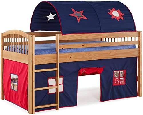 Alaterre Furniture Addison Cinnamon Junior Loft Bed Blue Tent and Playhouse