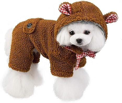 GLEYDY Disfraz de Oso de Peluche Abrigo con Capucha para Perros pequeños Gatos Jersey Chaqueta Pijamas, Chirstmas y Ropa para Cachorros Tapa extraíble: Amazon.es: Deportes y aire libre
