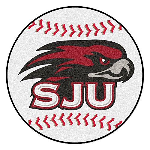NCAA St. Joseph's University Hawks Baseball Shaped Mat Round Area Rug