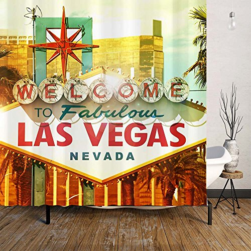 Orange Design Welcome to Fabulous Las Vegas Sign Shower Curtain Set, Nevada Travel, Waterproof Polyester Fabric, Curtains for Bathroom Home Decor 72''x72'',Traveler Urban Road(Las Vegas) (Vegas Sign)