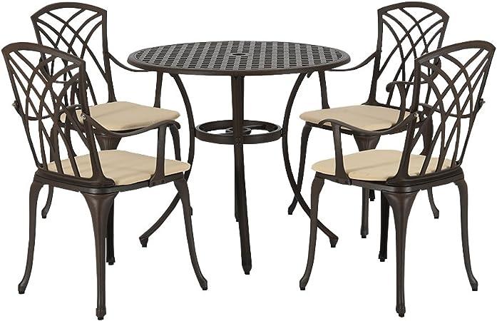 Amazon De Mayuber Aluguss Tisch 4 Stuhle Mit Armlehnen Outdoor