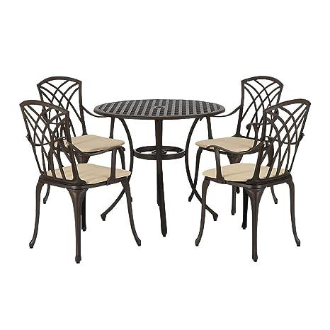 Mobili Da Giardino In Ghisa.Mayuber Ghisa Di Alluminio Tavolo E 4 Sedie Con Braccioli Poltrone