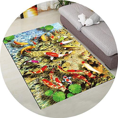 3D Carpet for Living Room Coffee Table Floor Rugs Non-Slip Child Carpet Bedroom Mats Bedside Rugs Soft Baby Crawling Mats,Fish 03,40x60cm