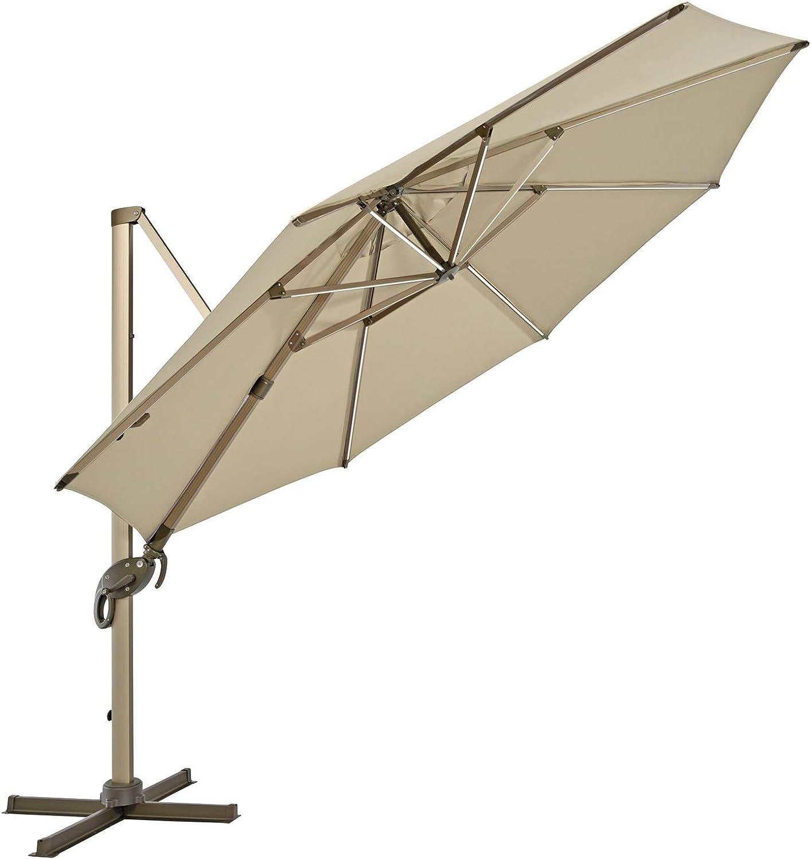 SVITA Ampelschirm 360/° axial Sonnenschirm felx 3,5m LED Alu drehbar Schwenk-//kippbar Taupe