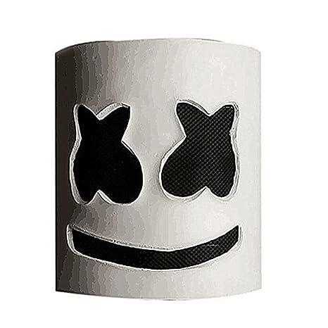 unbrand DJ Marshmello Máscara Cosplay Traje Casco Completo Cabeza Látex Máscara Disfraz para Adulto Accesorios de
