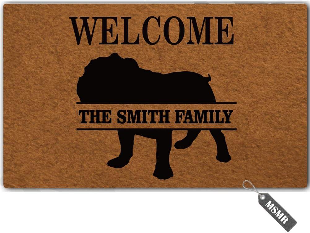 MsMr Custom Door Mat Personalized Family Name Welcome English Bulldog Doormat Indoor/Outdoor Decor Entrance Floor Mat Non Slip 30 inch by 18 inch