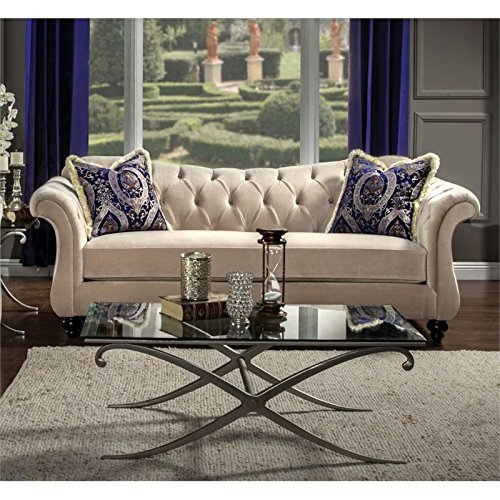 Furniture of America Dupre Fabric Sofa in Light Mocha