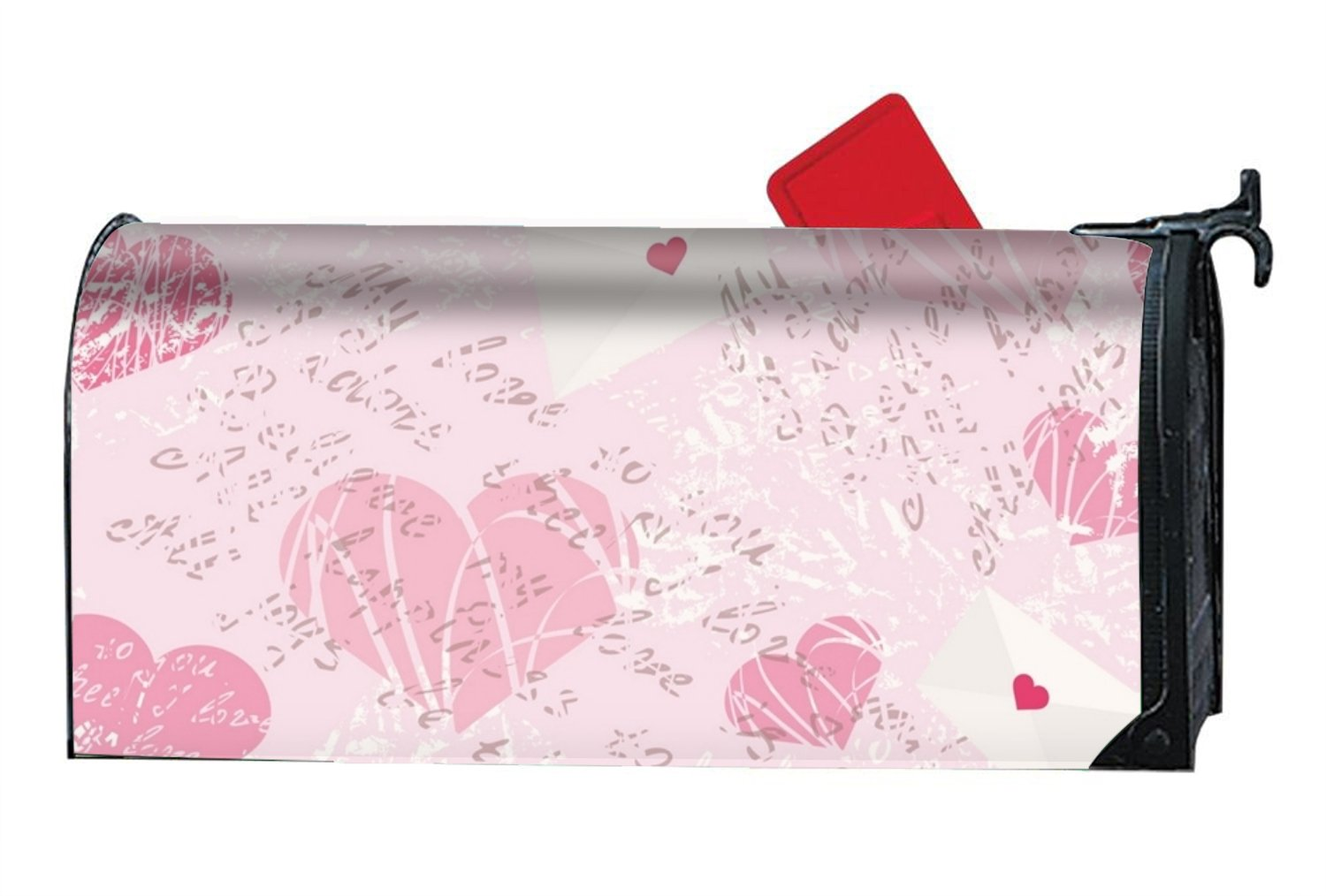 MAILL Pink Love Welcome Spring Magnetic Mailbox Cover Floral Puppy 6.5x19 inches