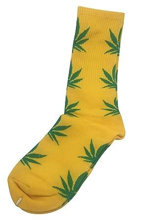 Calcetines Weed marihuana diseño amarillo con verde hojas