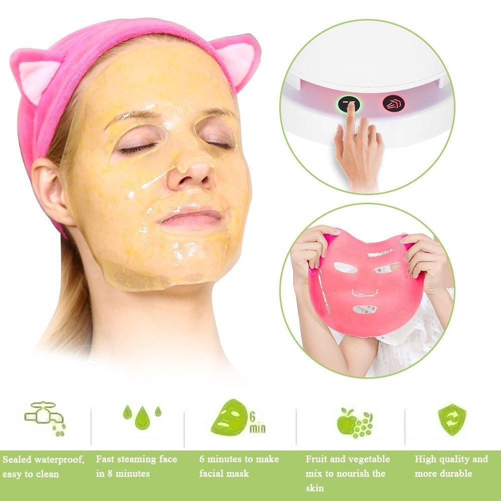 2 in1 Ionic Máscara Facial Steamer y fruta eléctrica, multifunciones DIY naturales Frutas Verduras Máscara Maker, caliente Niebla hidratantes Personal piel ...