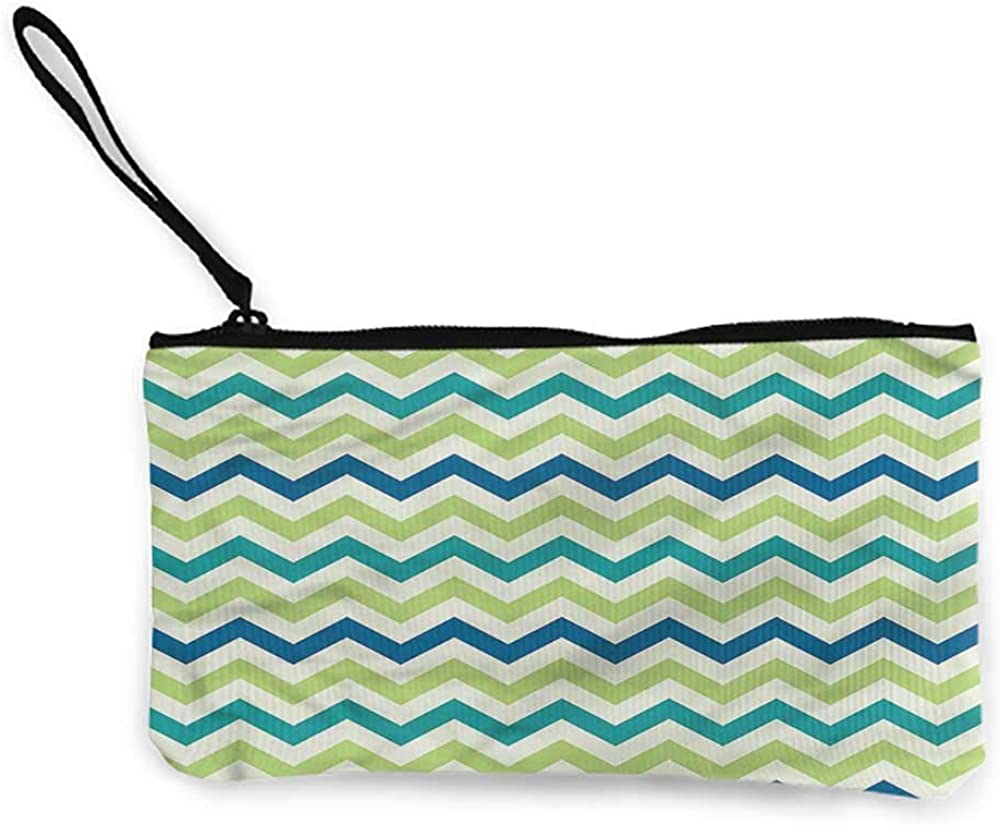 Zip coin purse Chevron,Vibrant Pink with 3D Effect,Girls Fashion Purse