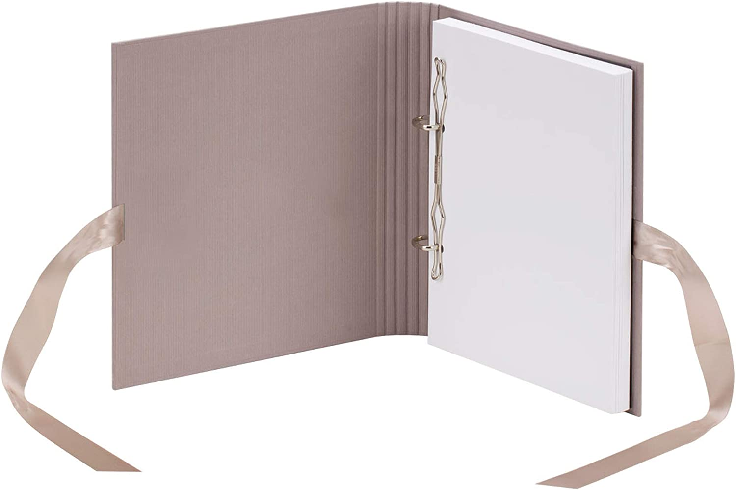 R/össler Photo Ring Book with 2 Rings 230 x 210 mm 50 Pages with Ribbon Powder Pink