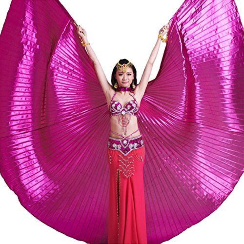 (Pilot-trade Women's Professional Belly Dance Costume Angle Isis Wings No Stick Dark Pink)