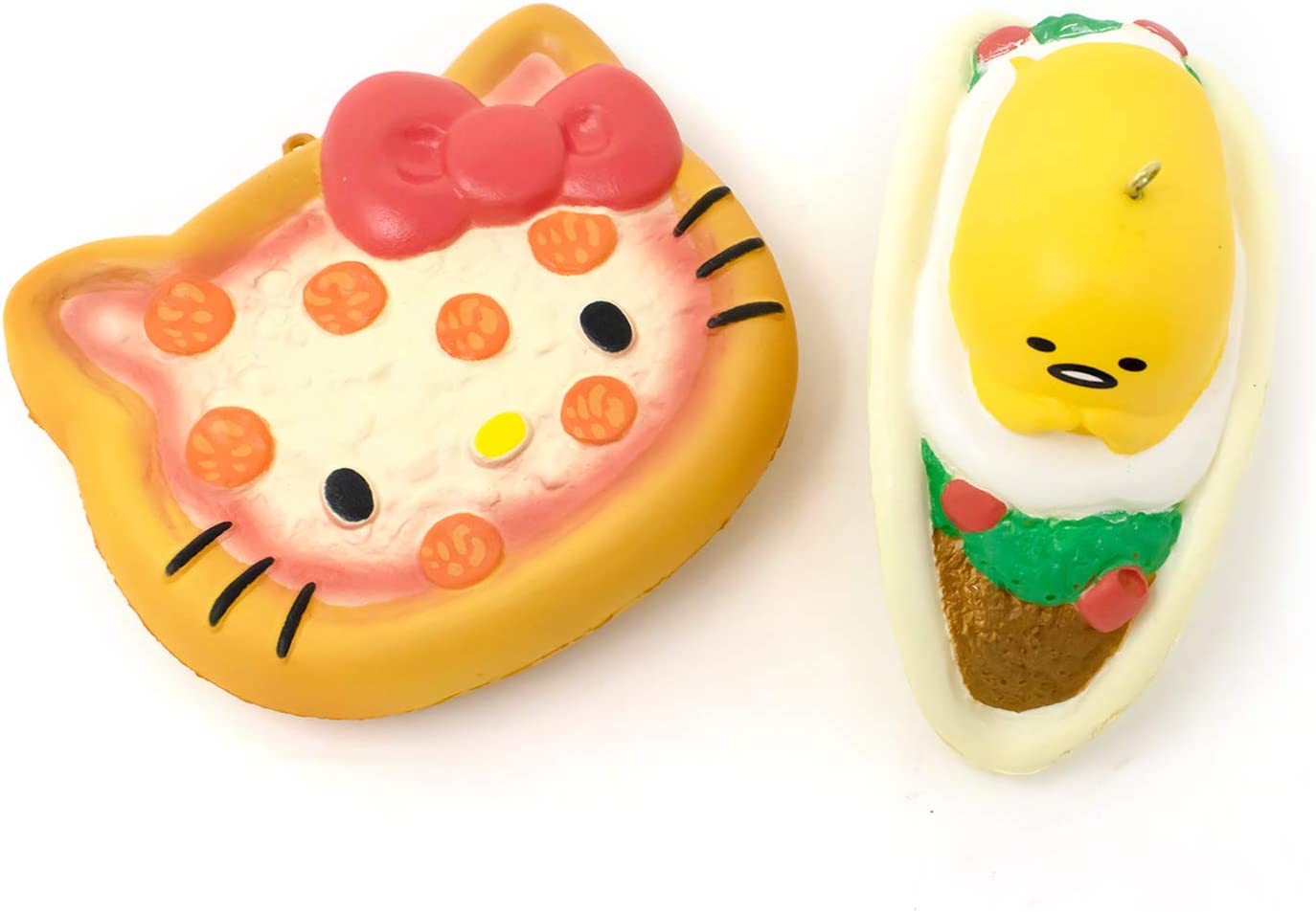 Hello Kitty Fastfoods ???? Gudetama Lazy Egg Yolk Diner [Slow Rising] Soft Stress Relief Cute Squishy Toys for Kids, 2-Piece Set [Fast Food Pizza, Diner Taco]